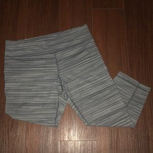 grey striped under armor leggings